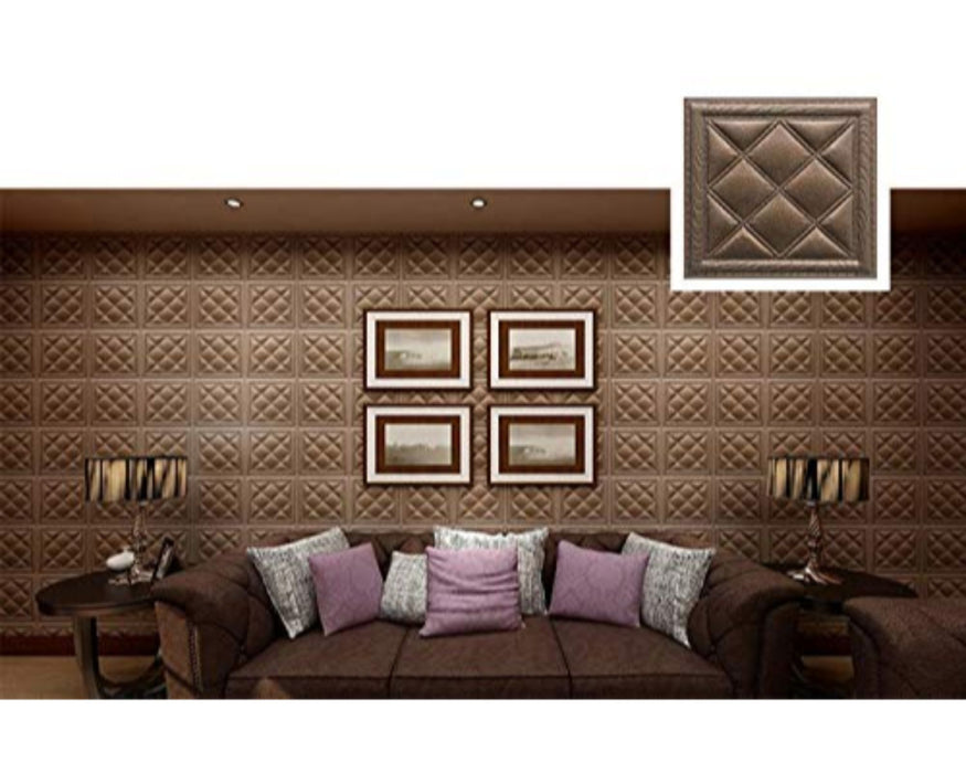 Faux Leather 3D Pattern PVC Waterproof Wallpaper Stick Wallpaper for TV/Sofa Background Wall Decoration