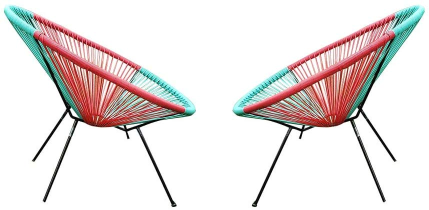 2 Pcs Acapulco Indoor Outdoor Lounge Chair Weave Patio Chair with Steel Frame Perfect for Home, Patio,Yard, Garden