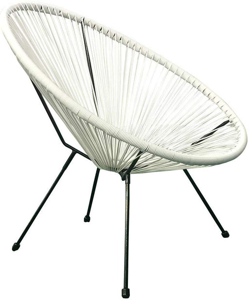 2 Pcs White Indoor Outdoor Acapulco Woven Lounge Chair, All-Weather Patio Pear Shaped Weave Chair