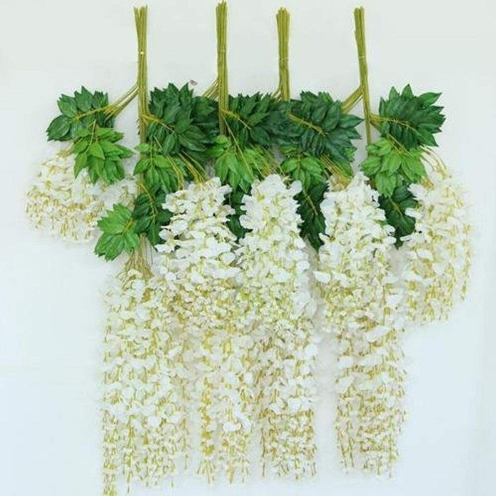 E-Joy 12 Pcs Realistic Artificial Silk Wisteria Vine Ratta Silk Hanging Flower Plant for Home Party Wedding Decor