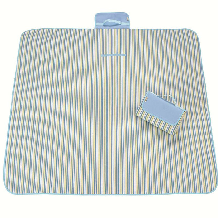Beach Insulated Picnic Blanket,Foldable Blanket Service for 6 Kids Striped Folding Summer Blanket for Park, Camping, Festivals
