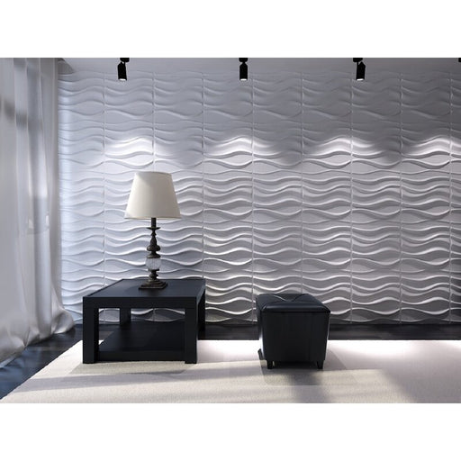 19.7 » L x 19.7 » W Lake 3D Embossed/Paintable 12-Panel Wallpaper Panel 3D Wall Panels, Easy Peel & Stick Wall