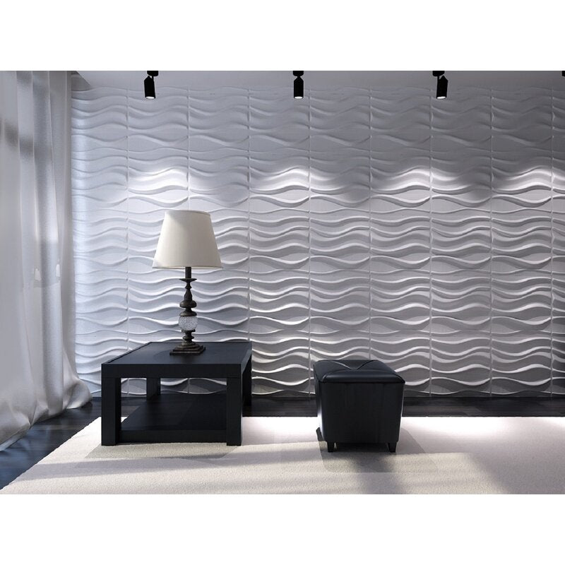 "19.7"" L x 19.7"" W Lake 3D Embossed/Paintable 12-Panel Wallpaper Panel 3D Wall Panels, Easy Peel & Stick Wall Panels"