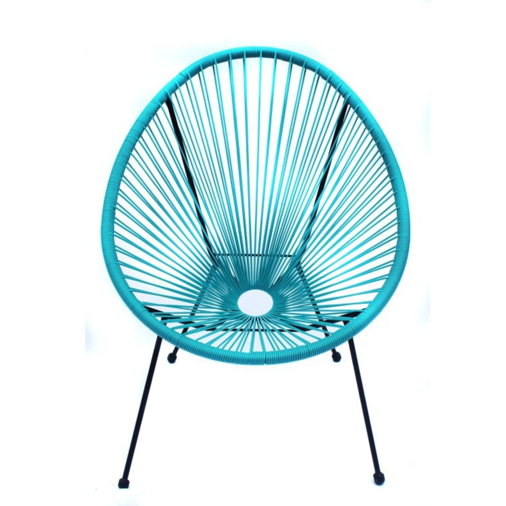 custom order-6 Pcs Blue Indoor Outdoor Acapulco Woven Lounge Chair, All-Weather Patio Pear Shaped Weave Chair