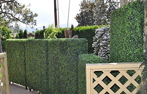 "Artificial Boxwood Panels Topiary Hedge Plant UV Protected Privacy Screen Outdoor Indoor Use Garden Fence Backyard Home Decor Greenery Walls Pack of 12 Pieces 20"" x 20"" inch Mix of Light and Dark Greeneen-1boxes"