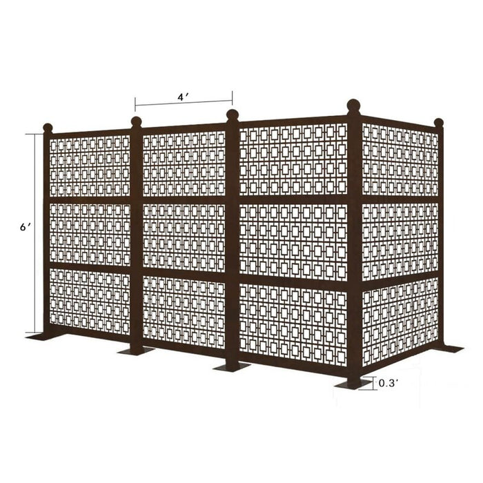 12.6 ft. H x 6.3 ft. W Freestanding Modular Metal Privacy Screen Laser Cut Decorative Steel Privacy Panel, Metal Fencing