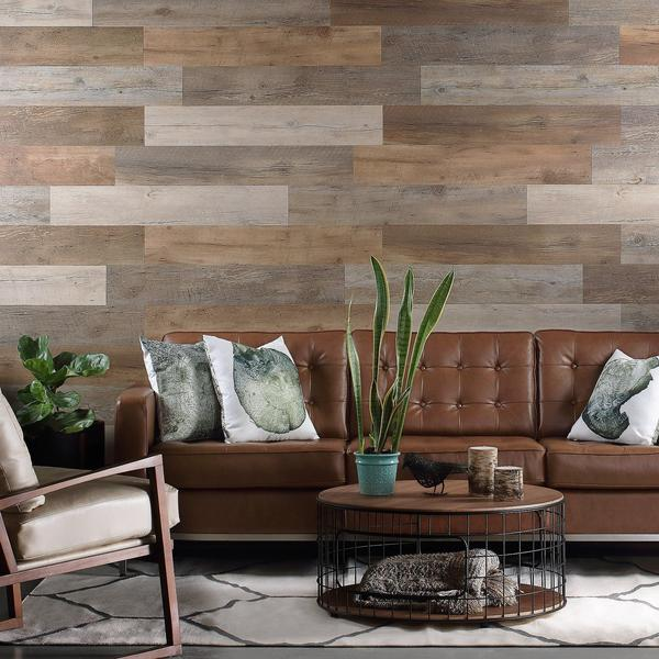 12 Pieces Self Adhesive Wall Panels Peel & Stick Rustic Reclaimed Barn Wood Panels