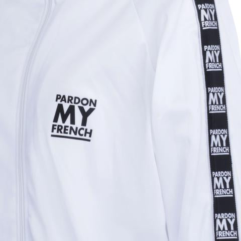PARDON MY FRENCH RETRO TRACK TOP- WHITE