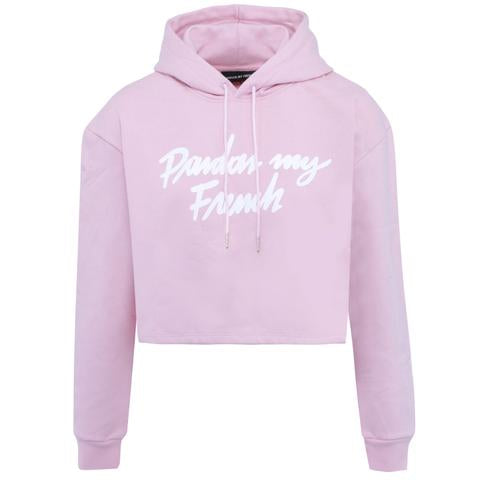 PARDON MY FRENCH CROPPED HOODIE PINK