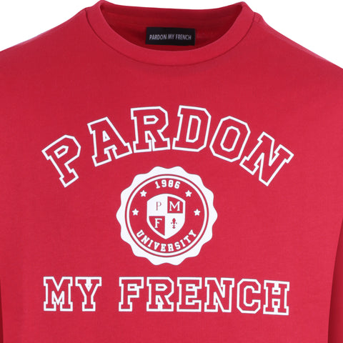 WOMEN LONG CUT CREWNECK UNIVERSITY RED + WHITE PRINT