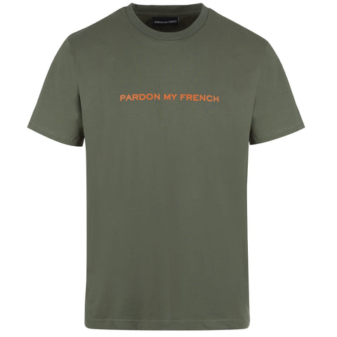 TSHIRT SIGNATURE PMF M/ GREEN + ORANGE PRINT