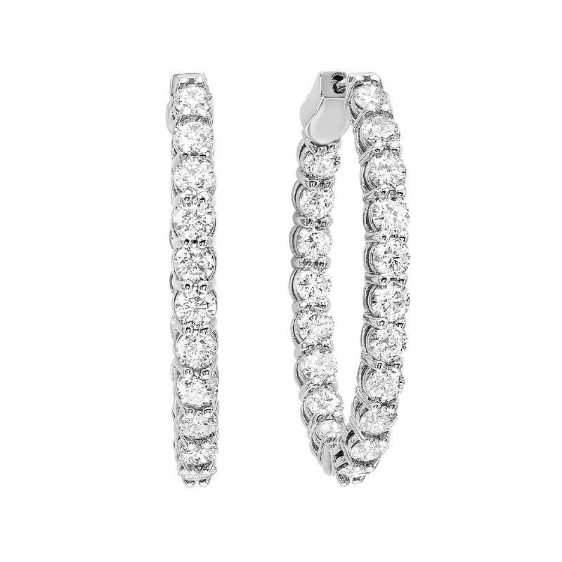 14K White Gold In-Out Diamond Earrings 2 ct
