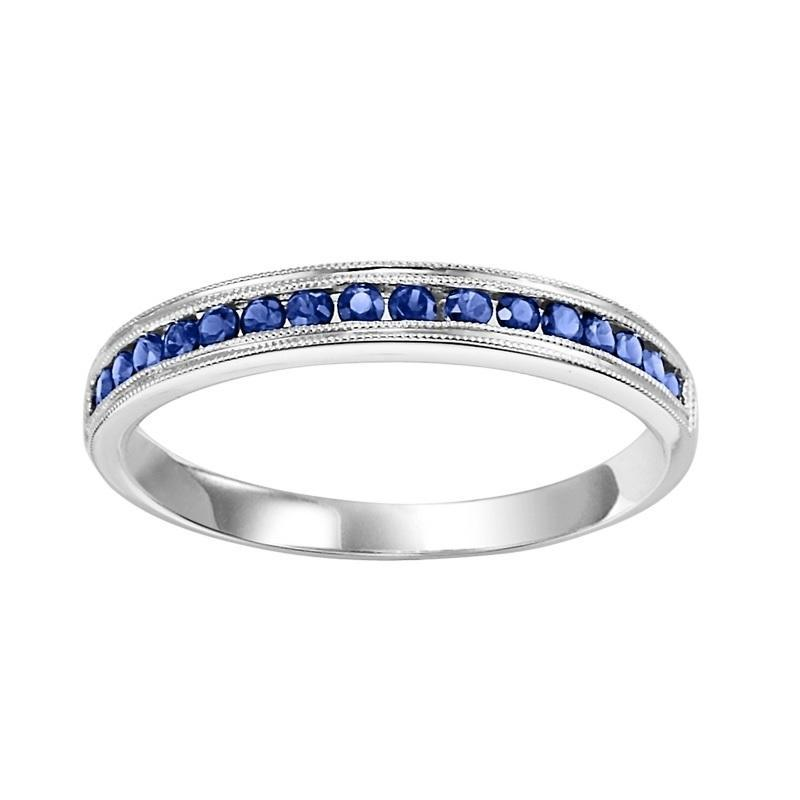 10K White Gold Sapphire & Diamond Stackable Ring
