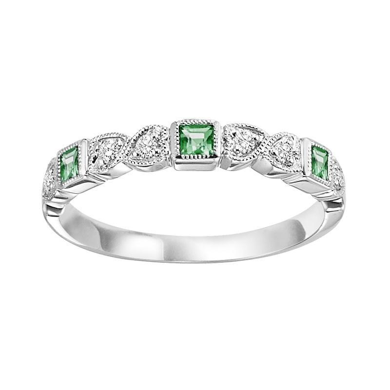 10K White Gold Emerald & Diamond Stackable Ring