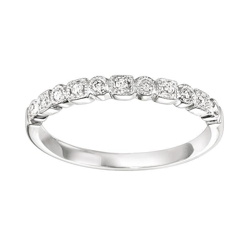 10K White Gold Diamond Stackable Ring - 1/10 ct.