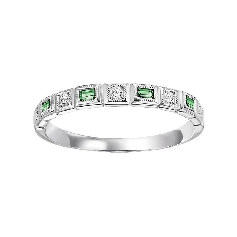 14K White Gold Diamond & Emerald Ring