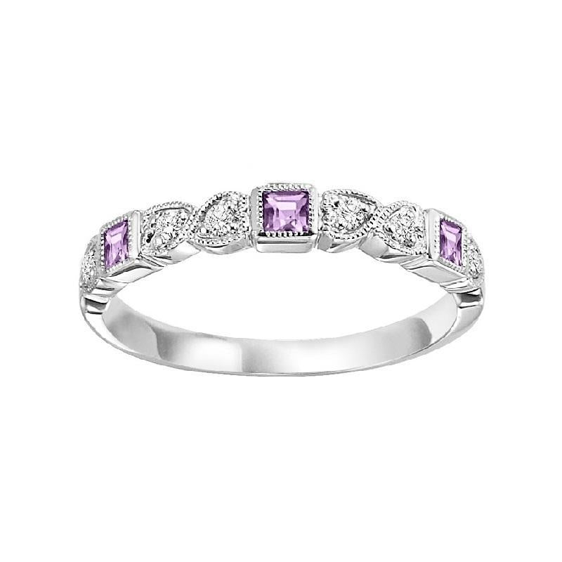 14K White Gold Pink Sapphire & Diamond Stackable Ring