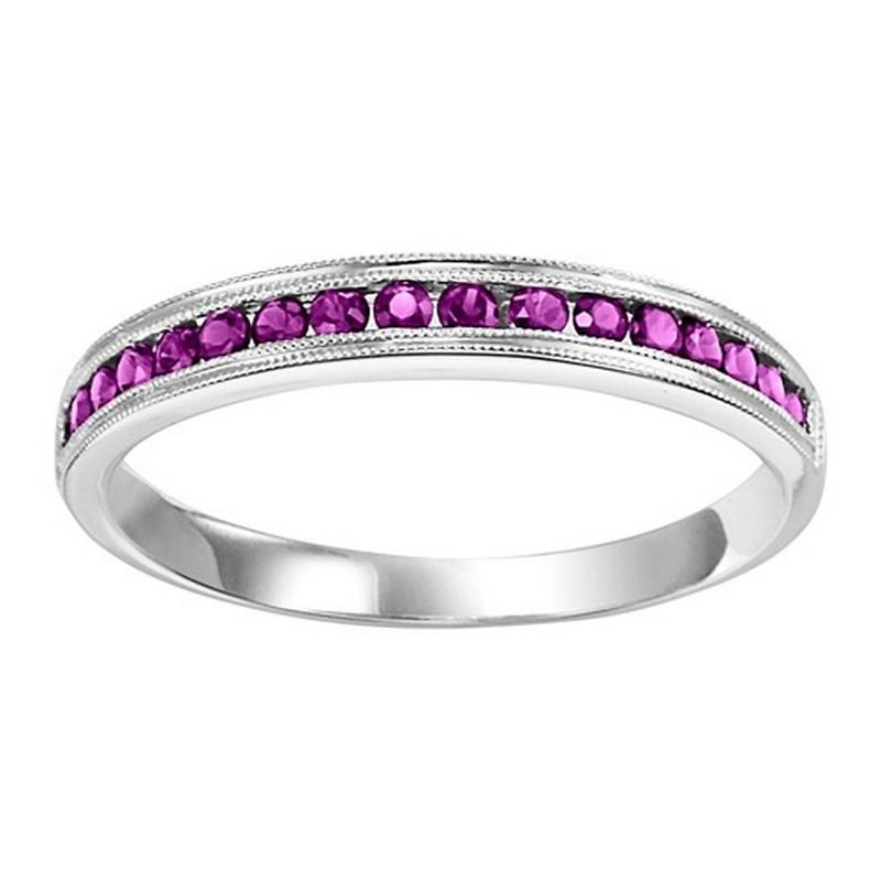 14K White Gold Ruby & Diamond Stackable Ring