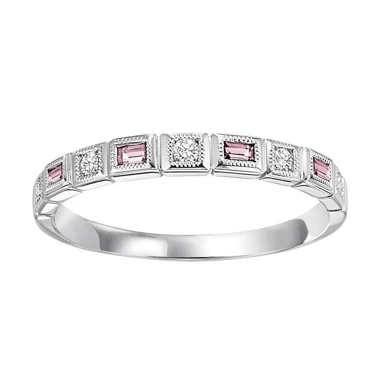 10K White Gold Pink Tourmaline & Diamond Stackable Ring