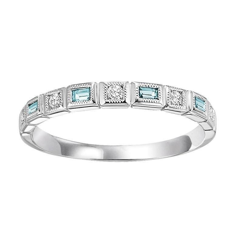 10K White Gold Blue Topaz & Diamond Stackable Ring