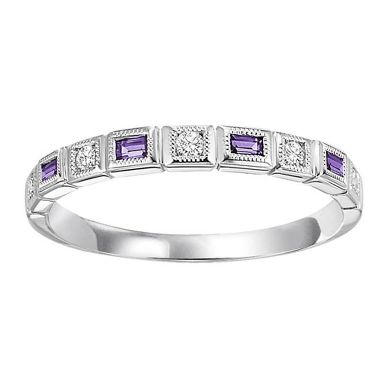 10K White Gold Peridot, Amethyst & Diamond stackable Ring