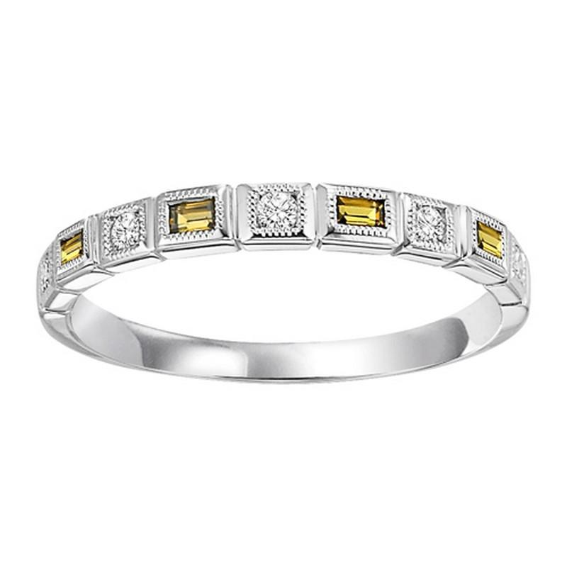 10K White Gold Citrine & Diamond Stackable Ring