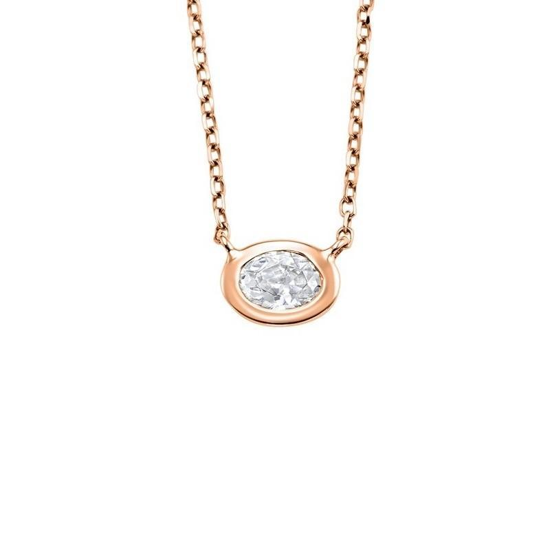 14K Rose Gold Diamond Oval Pendant 1/10 ct