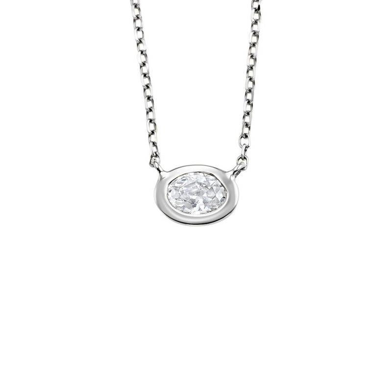 14K White Gold Diamond Oval Pendant 1/10 ct