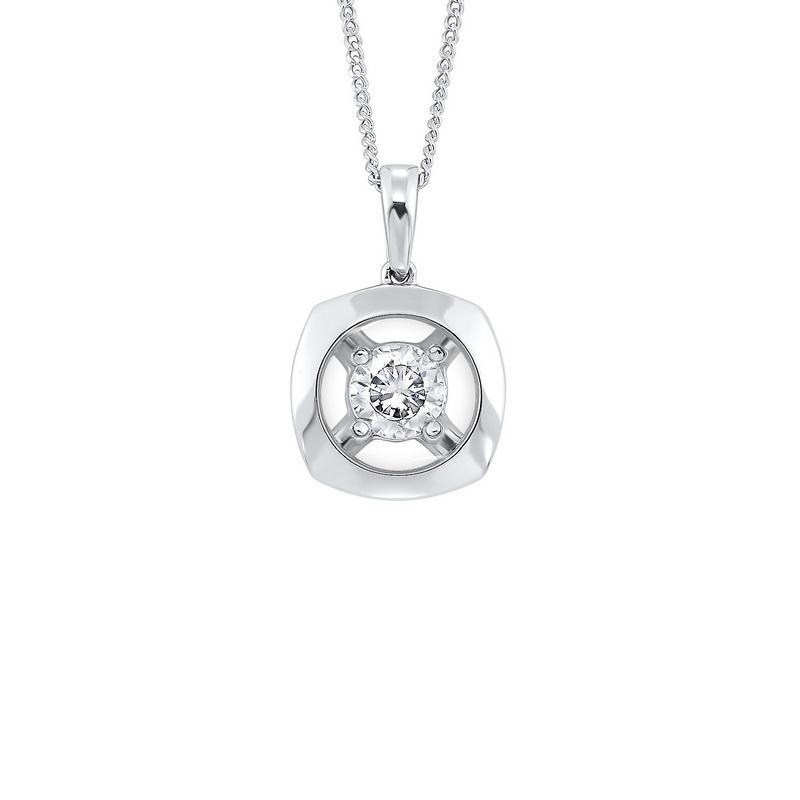 10K White Gold Diamond Pendant