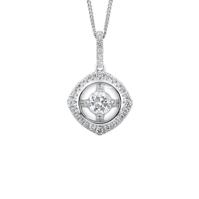 10K White Gold Diamond Pendant 1/7 ct