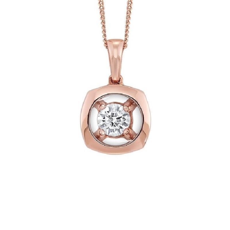 10K Rose Gold Diamond Pendant 1/7 ct