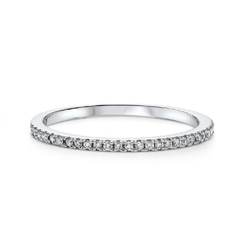 10K  White Gold Diamond Fashion Ring - 1/8 ct
