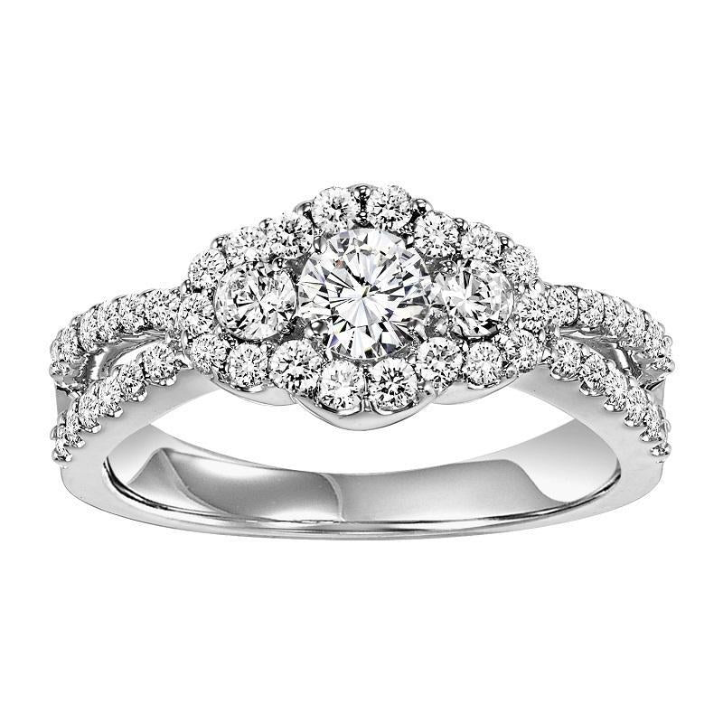 14K White Gold Split Shank Halo Diamond Engagement Ring - 5/8 ct