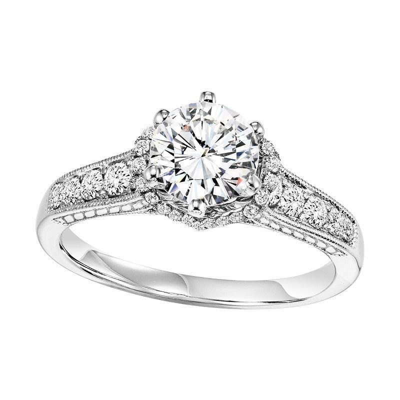 14K White Gold Diamond Halo Engagement Ring - 1/3 ct