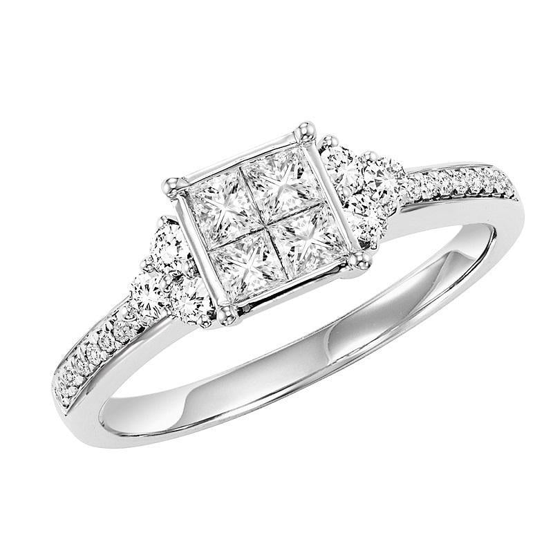14K White Gold Diamond Engagement Ring 5/8 ctw - with Quad-Diamond Head