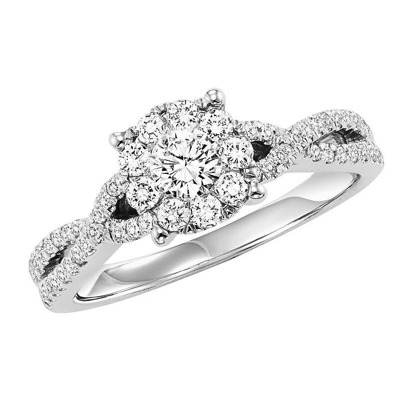 14K White Gold Diamond Halo Engagement Ring 3/4 ct
