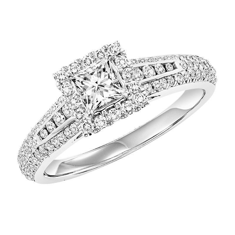 14K White Gold Diamond Halo Engagement Ring 1 ct