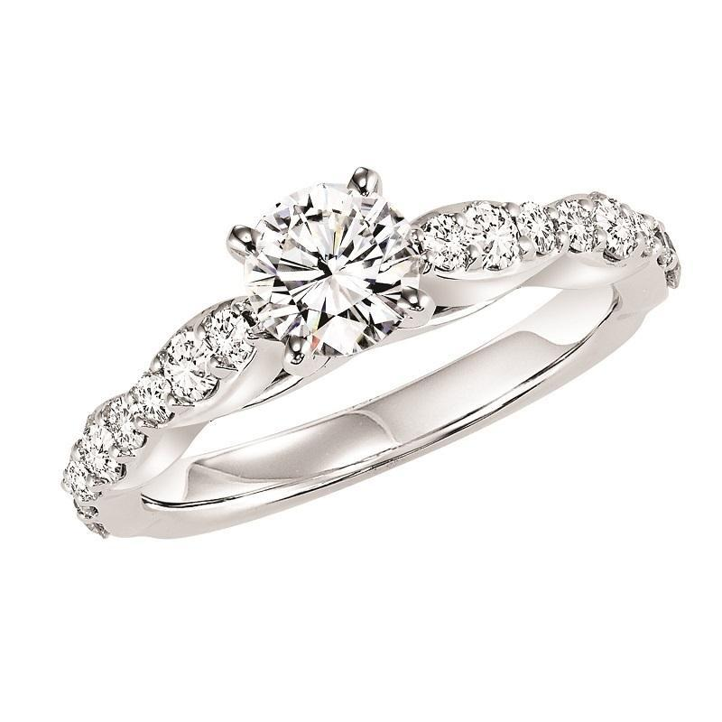 14K White Gold Diamond Engagement Ring - 5/8 ctw