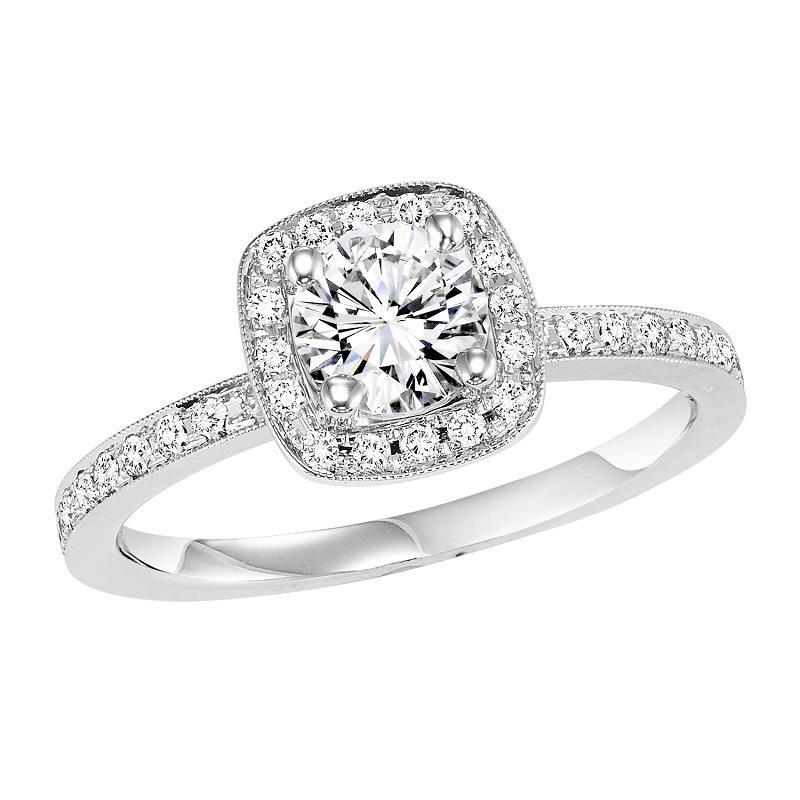 14K White Gold Halo Diamond Engagement Ring 1/4 ctw with 5/8 ct Center Diamond
