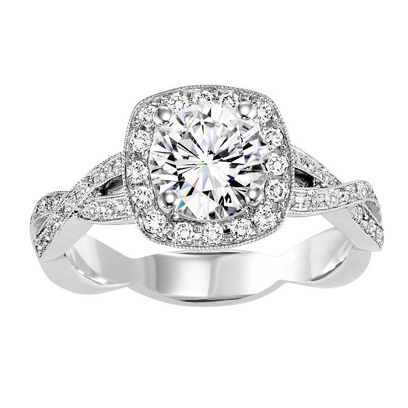 14K White Gold Split Shank Diamond Engagement Ring 1/3 ct