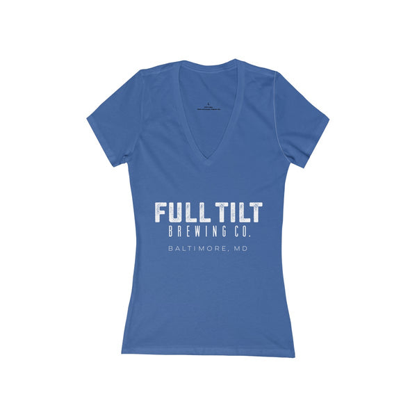 Full Tilt - Womens Short Sleeve V-Neck T-Shirt - White Logo