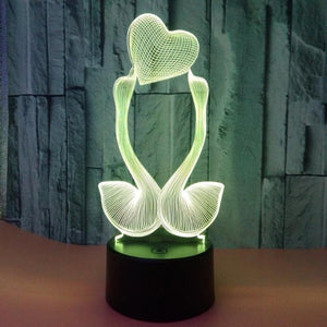 https://transparent-things.com Transparent Things 7 Colour Change 3D Hologram Swan Heart Lamp Lights #transparentthingsstore