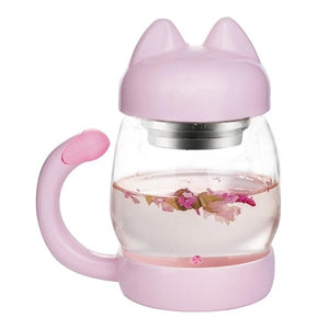 https://transparent-things.com - 420ml Cute Cat Glass Mug With Coffee Filter - Transparent-Things - #transparentthingsstore