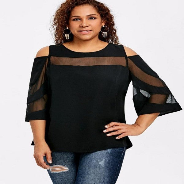 https://transparent-things.com - Flare Sleeve Mesh Insert 3/4 Sleeve Blouse - Transparent-Things - #transparentthingsstore
