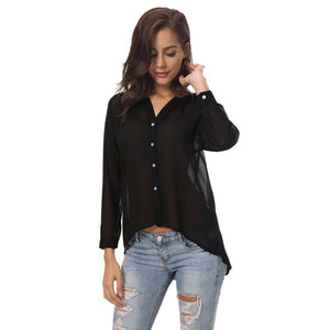 https://transparent-things.com - Solid Blusas Female V-neck Long Sleeve - Transparent-Things - #transparentthingsstore