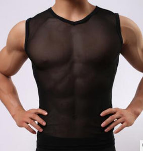 https://transparent-things.com - Men's Sleeveless V-neck Lingerie - Transparent-Things - #transparentthingsstore