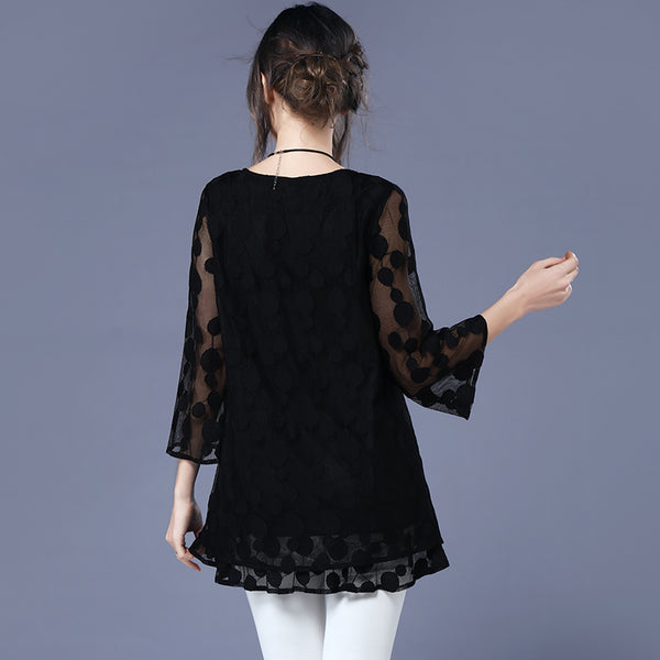 https://transparent-things.com - Transparent Dot Mesh 3/4 Sleeve Blouse - Transparent-Things - #transparentthingsstore
