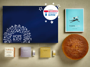 HOPE & JOY MOTHERS DAY HAMPER, BOOK, CLEMENTINE AND ALMOND CAKE, HOOGLY TEA, SCENTERED BALMS