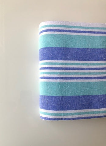 "Flannel Bath Blankets 72x90"" White with Green/Blue Stripes (50 pieces)"