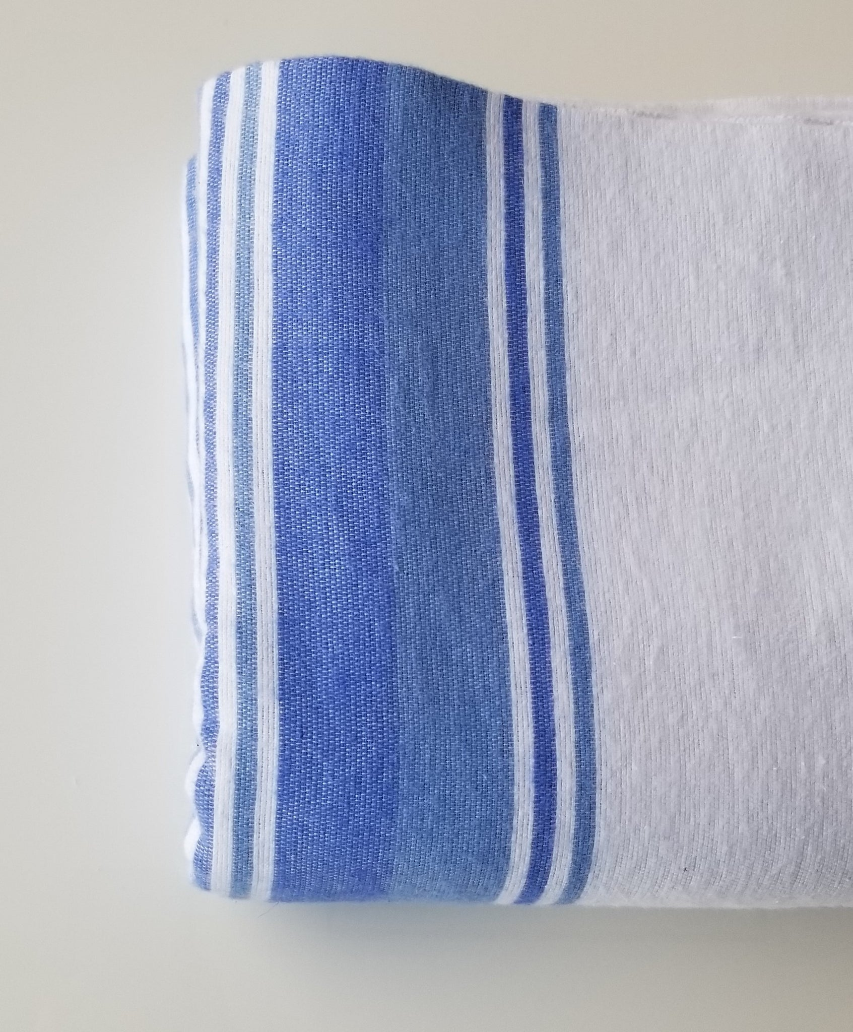 "Flannel Bath Blankets 72x90"" White with Blue Stripes"